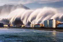 Tsunami With A Big Wave Crashi...