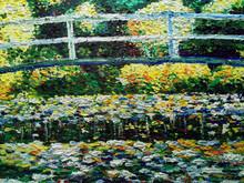 Art Painting Oil Color The Bridge Lagoon ,  Lotus  Flower , Claude Monet
