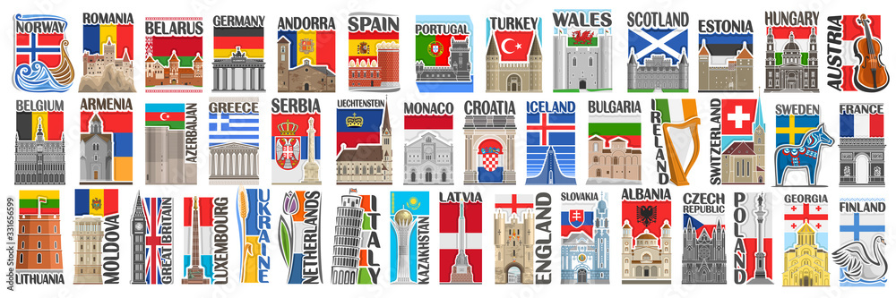 Fototapeta Vector set of European Countries with flags and symbols, 43 isolated vertical labels with national state flags and brush font for different words, art design stickers for european independence day.