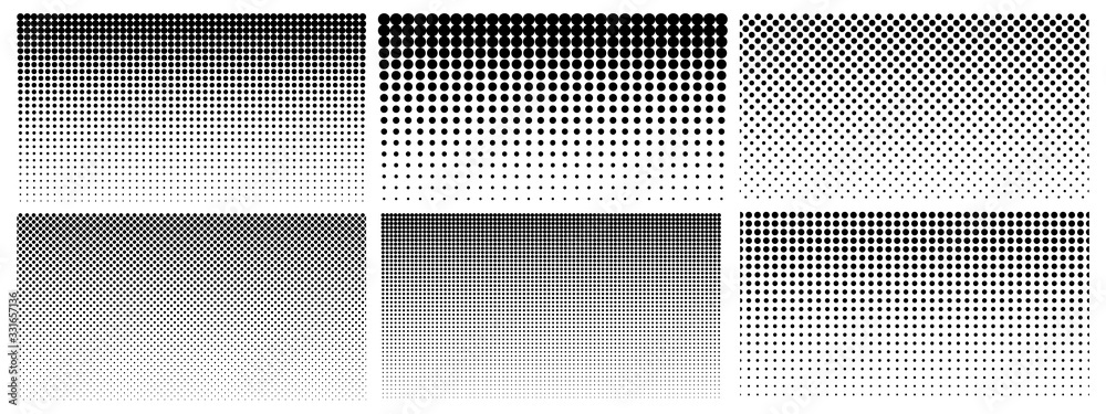 Fototapeta Halftone gradient. Dotted gradient, smooth dots spraying and halftones dot background seamless horizontal geometric pattern vector template set. Abstract dot gradient halftone pattern illustration