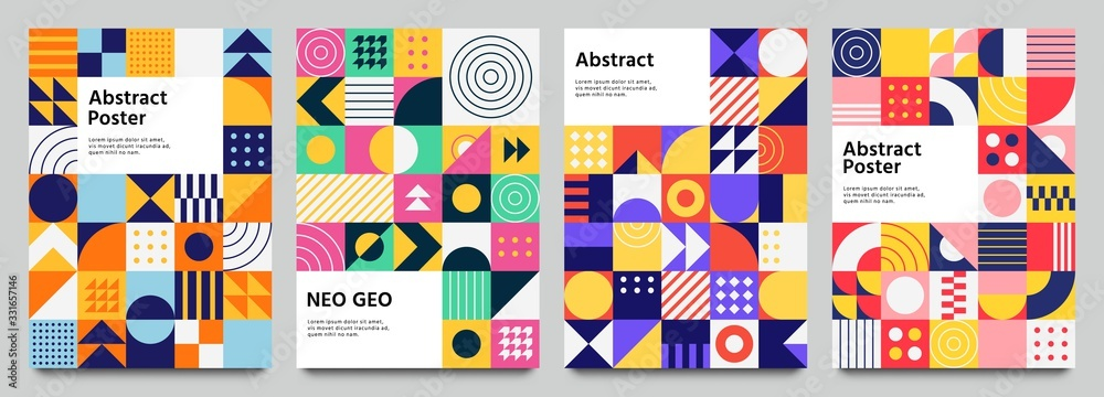 Fototapeta Colorful neo geometric poster. Grid with color geometrical shapes. Modern abstract promotional flyer background vector illustration set. Geometric template poster, brochure neo pattern