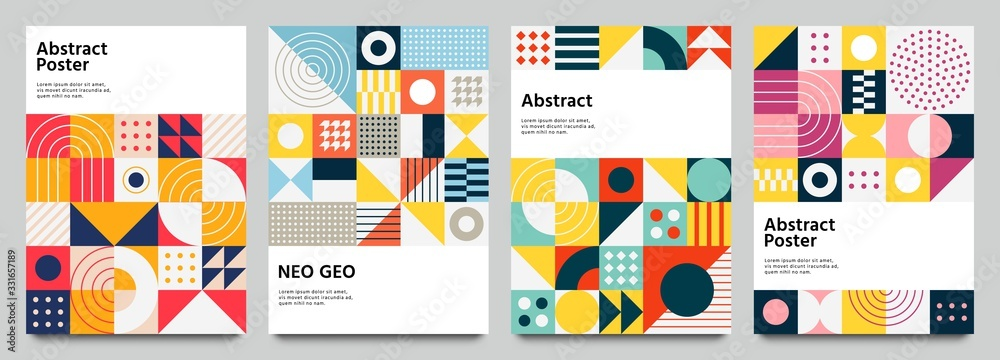 Fototapeta Color neo geo poster. Modern grid flyer with geometric shapes, geometry graphics and abstract background vector set. Geometry grid pattern banner vivid presentation illustration