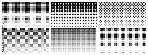 Halftone gradient. Dotted gradient, smooth dots spraying and halftones dot background seamless horizontal geometric pattern vector template set. Abstract dot gradient halftone pattern illustration