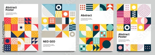 Fototapeta Color neo geo poster. Modern grid flyer with geometric shapes, geometry graphics and abstract background vector set. Geometry grid pattern banner vivid presentation illustration obraz