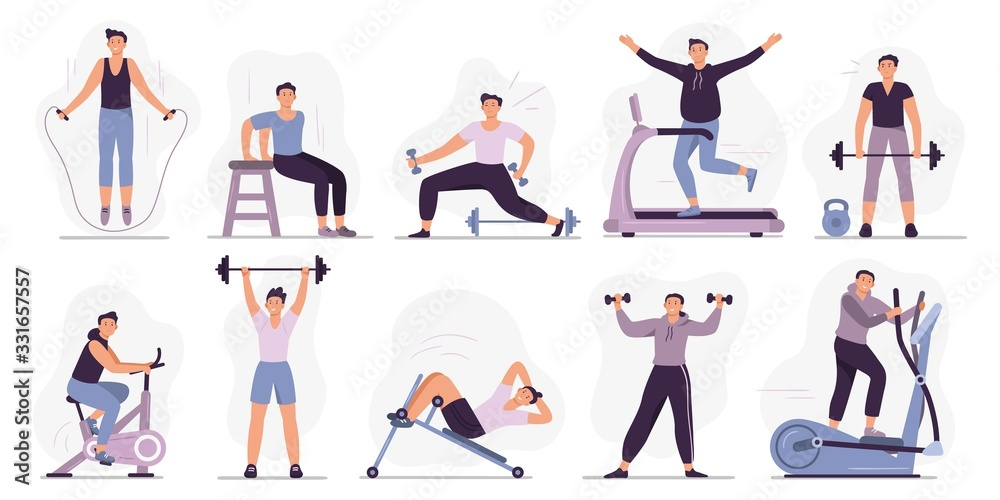 Fototapeta Man at sport gym. Vector illustration set. Sport exercise male character, man do exercise in gym, fitness healthy for body