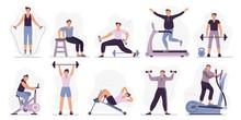 Man At Sport Gym. Vector Illus...