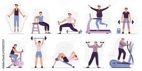 Fototapeta Man at sport gym. Vector illustration set. Sport exercise male character, man do exercise in gym, fitness healthy for body obraz