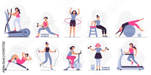Fototapeta Woman at sport gym. Vector illustration set. Female run on treadmill, equipment for fitness in gym, workout people, training exercise collection obraz
