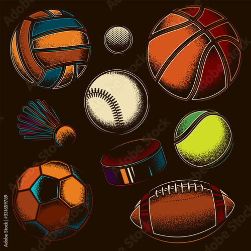 Original vector sports set. Baseball, Volleyball, Hockey, Badminton, Basketball, American football, Soccer, Tennis.