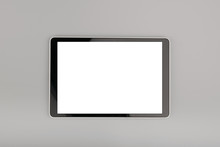 Blank Tablet Computer On Grey Background