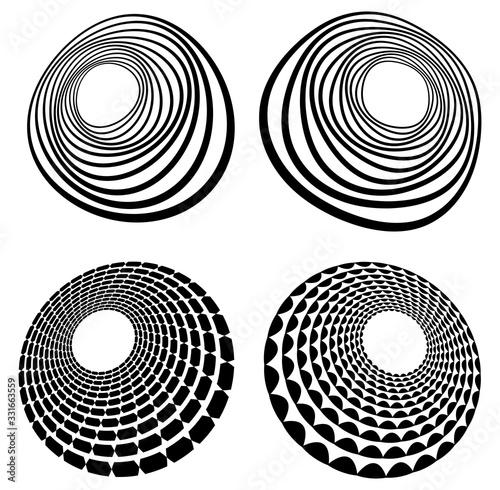 Set of black and white vortex, volute shapes Tablou Canvas