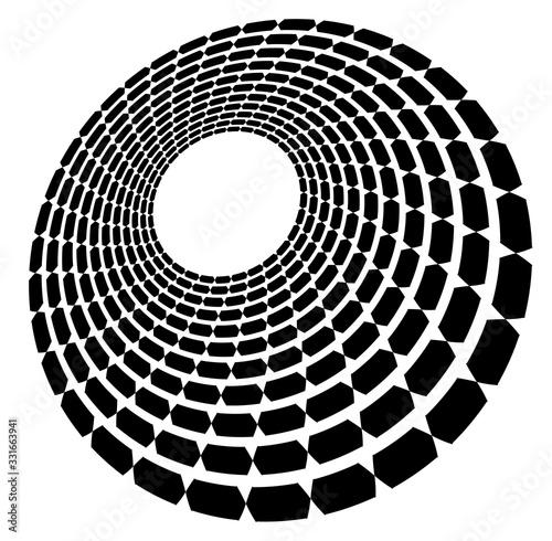 Obraz na plátně Monochrome volute, vortex shapes