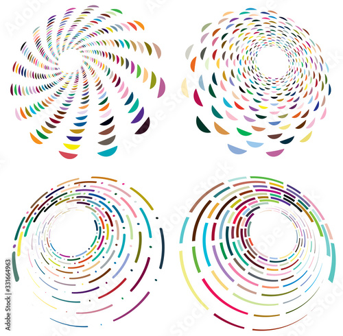 Set of mottled, multi color and colorful spiral, swirl, twirl shapes Tablou Canvas