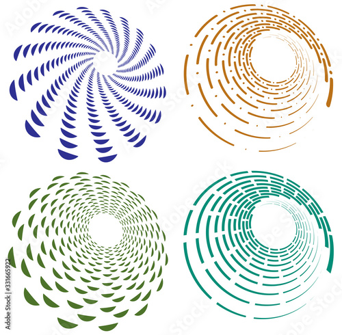 Fotografie, Tablou Set of single-colored,monochrome twirl, swirl