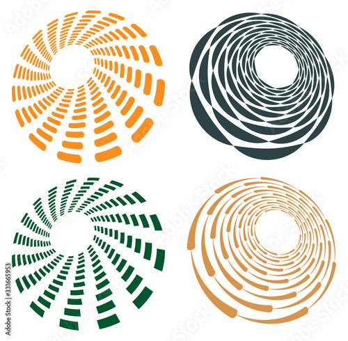 Set of single-colored,monochrome twirl, swirl Tablou Canvas