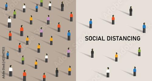 Social distancing prevention corona virus covid-19 ector illustration Wallpaper Mural