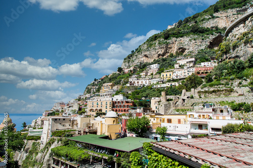 Parking deck beneath homes on Positano Hill Canvas Print