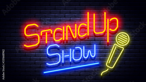 Stand up show neon glowing signboard on brick wall. Vector illustration.