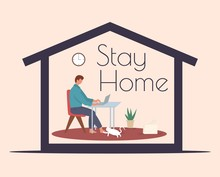 Stay Home During The Coronavirus Epidemic. Staying At Home In Self Quarantine, Protection From Virus.