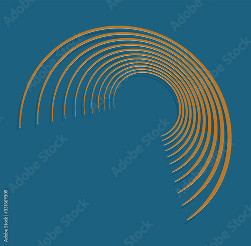 duotone curly, coil, gyration volute shape Fototapet