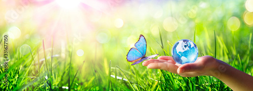 Fotografering Butterfly meet Human Hand With Glass Globe - Love And Care Environment Concept