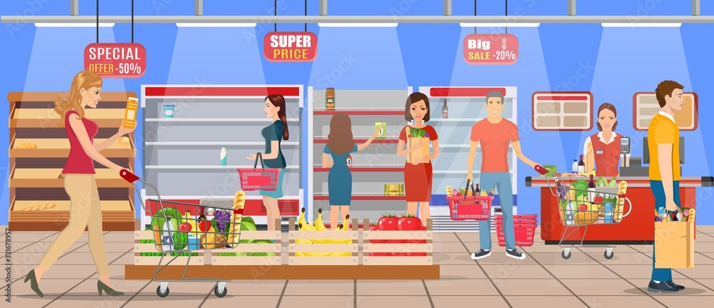 Fototapeta Customers people bying products in supermarket. grocery and consumerism concept. empty store shelves. Vector illustration in flat style