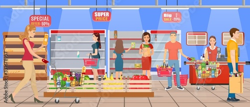 Fototapeta Customers people bying products in supermarket. grocery and consumerism concept. empty store shelves. Vector illustration in flat style obraz