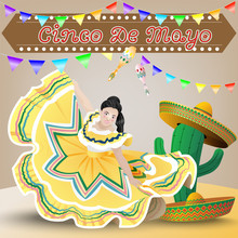 Cinco De Mayo With Mexican Woman Dance And Cactus