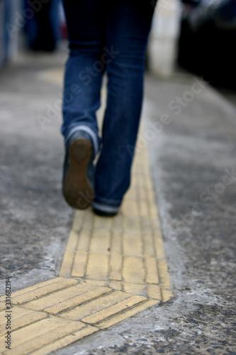 Fototapeta tactile pavement in bahia obraz na płótnie