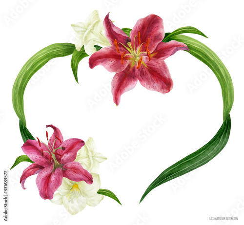 Fotografija Tropical heart wreath with stargazer lily and freesia