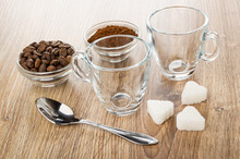 Bowls With Coffee Beans, Groun...