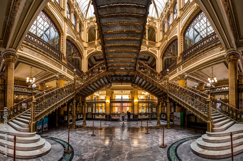 An interior view of the Postal Palace (Palacio Postal), a turn of the century post office in Mexico City, Mexico