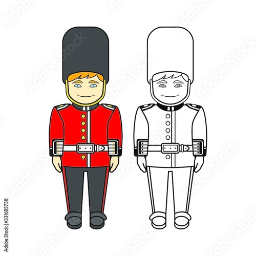 Cartoon of a Queen's Guard in Traditional Uniform, British Soldier Isolated on White Wallpaper Mural