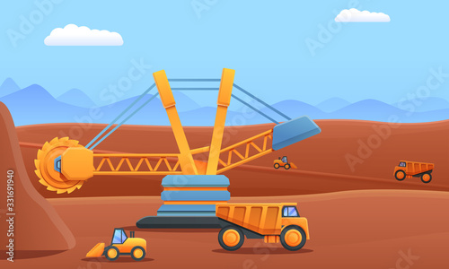 Cartoon mining digger dump truck and excavator working in a quarry, vector illustration