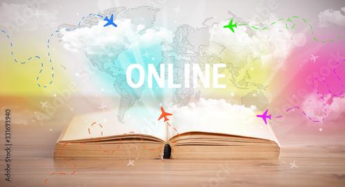 Fototapeta Open book with ONLINE inscription, vacation concept obraz
