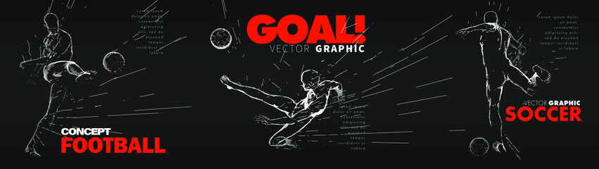 A set of fotball, soccer players drawing by lines with text. Creative sport concept. Art vector graphic for brochures, flyers, presentations, logo, print, web