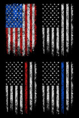 Grunge usa, police, firefighter flag vector design.