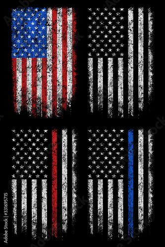 Fototapeta Grunge usa, police, firefighter flag vector design. obraz