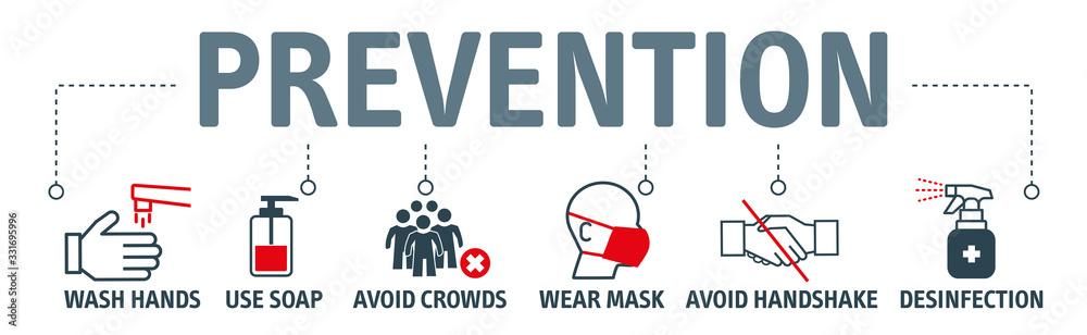 Fototapeta Coronavirus Prevention Vector Illustration Set