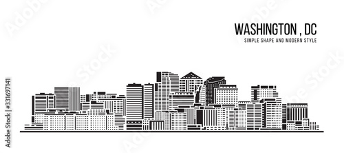 Cityscape Building Abstract Simple shape and modern style art Vector design - Washington city , DC