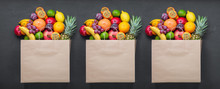 Paper Bag With Fruits. Concept Grocery Shopping, Sale, Promotion. Fresh Eco Products, Healthy Products