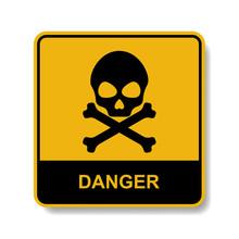Skull Warning Yellow Sign, Vector.