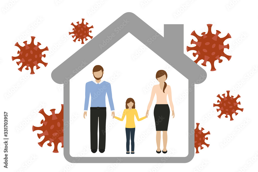 Fototapeta family in house quarantine virus info graphic vector illustration EPS10