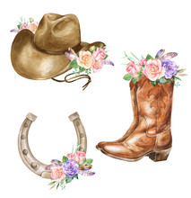 Watercolor Illustration Of Cowboy Boots Hat, Horseshoe With Floral Decoration
