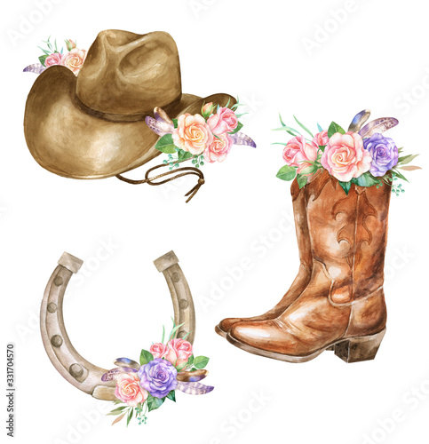 Vászonkép Watercolor illustration of cowboy boots hat, horseshoe with floral decoration