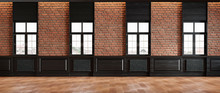 Classic Loft Room Interior With Brick Wall Classic Wall Panel And Windows. 3d Render Illustration Mock Up.