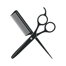 Scissors And Hairbrush Graphic...