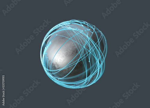 Obraz luminous particles fly around a sphere - fototapety do salonu
