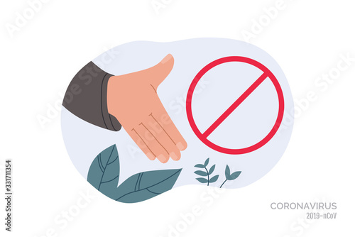 No Handshake Do Not Contact Red Prohibition Sign Precautions And Prevention Of Coronavirus Disease Warning Dangerous Infection On Hands Flat Cartoon Colorful Vector Illustration Buy This Stock Vector And Explore Similar