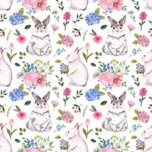 Cute Rabbits And Flowers Seaml...